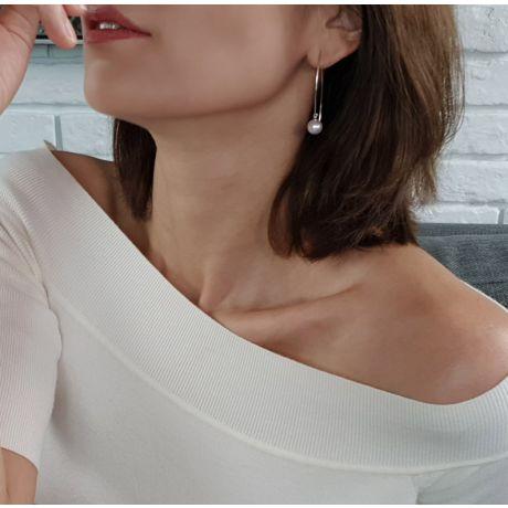 Orecchini Pendenti Less Is More - Perle Akoya Bianche 8/8.5mm AAA - Gancetti Oro Bianco