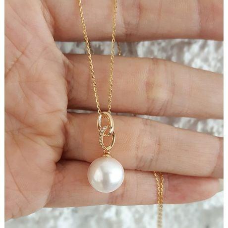 Pendentif 2 anneaux avec perle de culture - Or jaune, diamants pavés