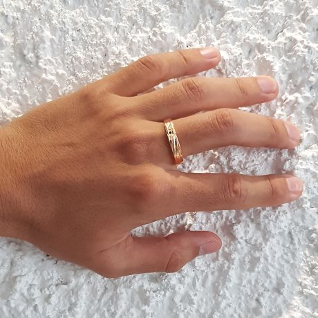 Bague alliance homme lignes obliques - Or jaune, diamant | Eolas
