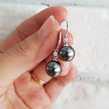 Boucles oreilles crochets - Perles de Tahiti - Or blanc, diamant