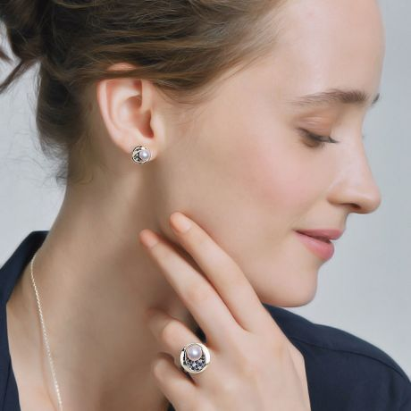 Orecchini di Perle Akoya Seiza - Diamanti, Zaffiri & Oro Bianco