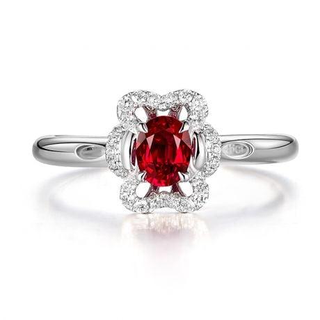 Anello di Fidanzamento Flamenca - Oro Bianco, Rubino & Diamanti