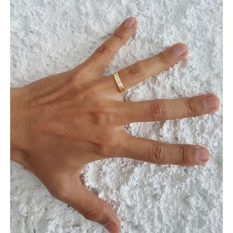 Alliance homme striée - Or jaune 18 carats | Une vie avec toi