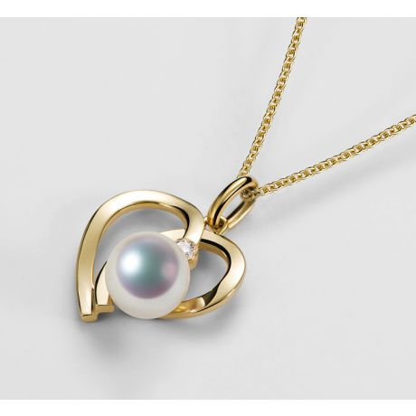 Ciondolo Chiaky - Oro Giallo 18kt, Diamante e Perla Akoya