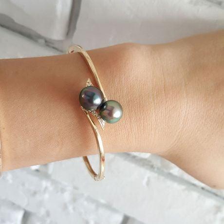 Braccialetto Giunco Morane - Oro Giallo, Perle di Tahiti Nere
