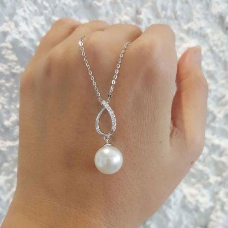 Ciondolo oro bianco, diamanti - Perla d'Australia bianca - 11/12mm