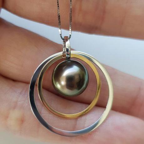 Pendentif 2 anneaux superposés - Perle de Tahiti - Or jaune et blanc