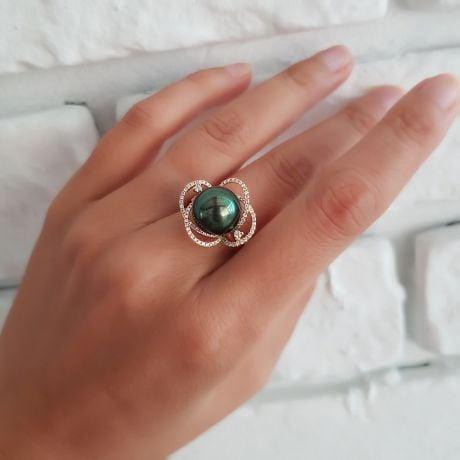 Anello Cape Horn - Oro Giallo, Diamanti e Perla di Tahiti