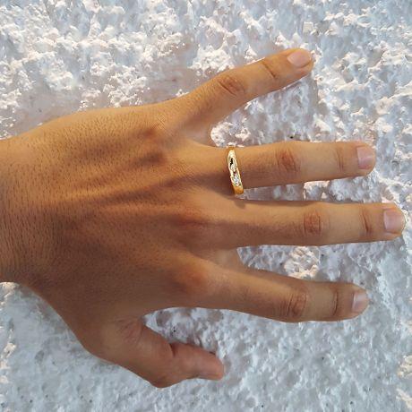 Alliance diamant et or rose - Anneau Homme