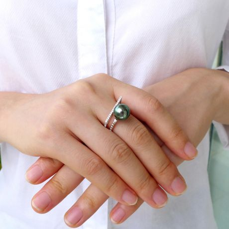 Bague perle de Tahiti, Or blanc, diamants - Saperlipopette