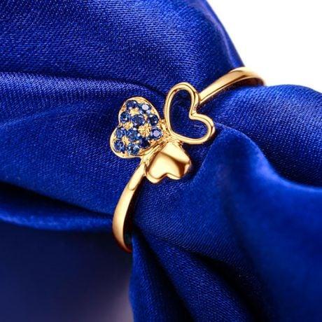 Bague 3 coeurs de trèfle ☘ Or jaune et saphirs bleus
