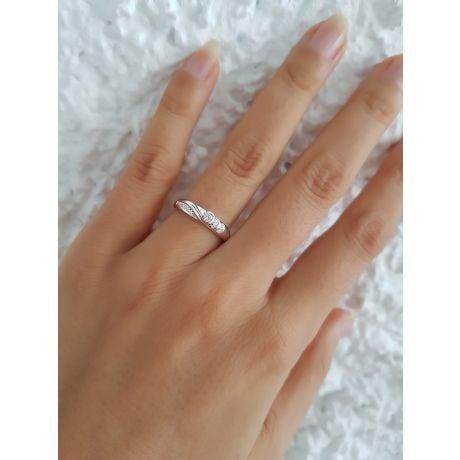 Alliance Femme solitaire diamants - Bague moderne Or blanc 18cts   Éclat glacé