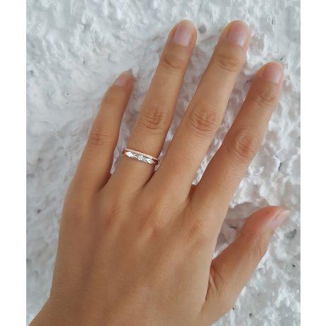 Alliances Duo 2 ors - Or blanc, rose - Diamants - Anneaux à facettes