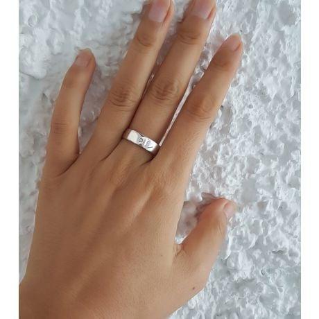 Alliance moderne et sobre pour Homme - Or blanc 750/1000  - Diamant