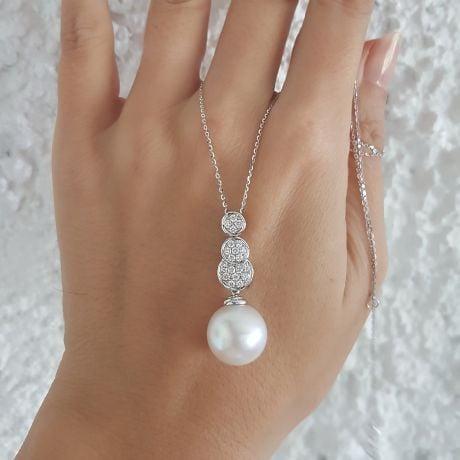 Ciondolo oro bianco, diamanti -  Perla d'Australia bianca - 12/13mm
