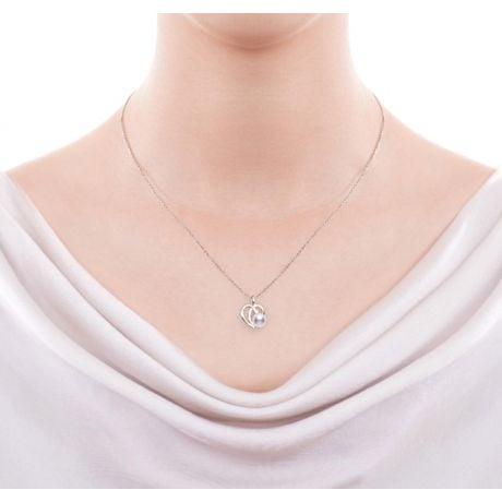Parure Chiaky. Ciondolo e Orecchini in Oro bianco, Perle Akoya e Diamanti