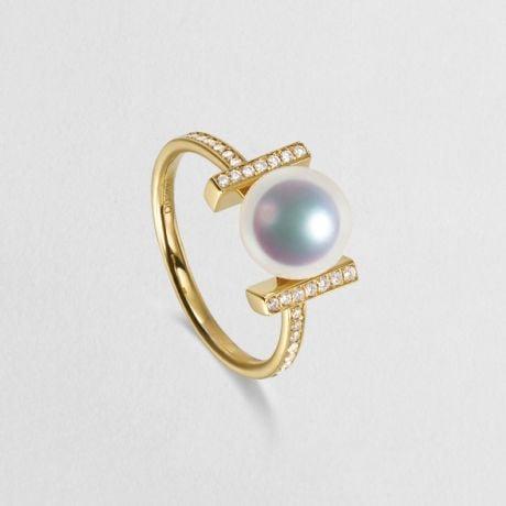 Anello Moderno Su Binari in Oro Giallo e Diamantati. Otohiko