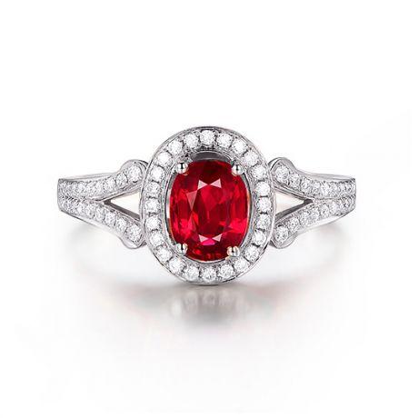 Anello Mogok, rubini dalla Birmania. Oro bianco e diamanti | Mogok