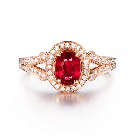 Bague Mogok, rubis de Birmanie.  Or rose et diamants | Mogok