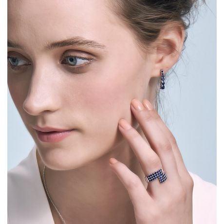 Boucle oreille Montecristo blue - Saphir, or blanc