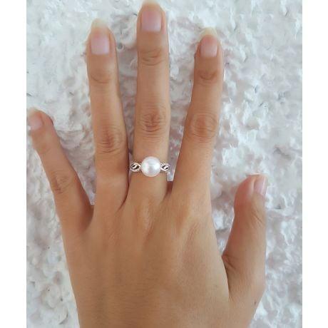 Anello Couple Danseur - Oro Bianco 18kt, Diamanti e Perla d'Acqua Dolce