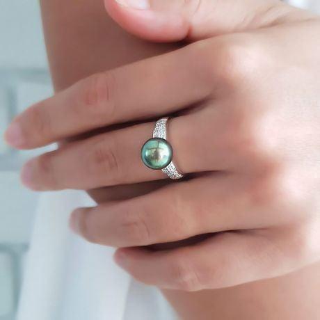 Anello Classico - Oro Bianco, Diamanti e Perla di Tahiti