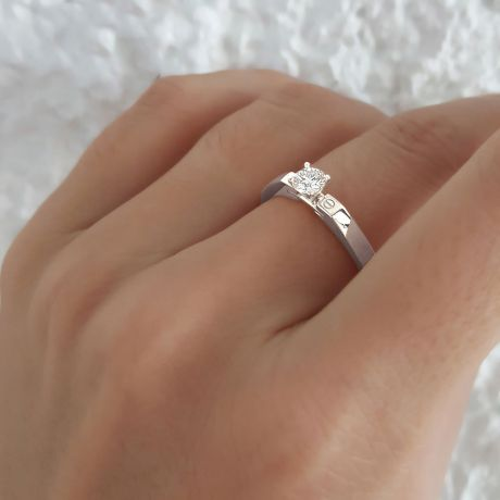 Bague solitaire or blanc - Diamant 0.30ct