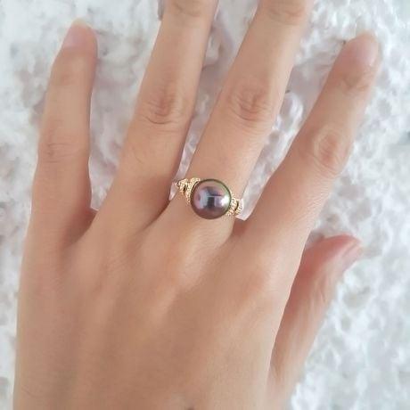 Anello Époques - Oro Giallo, Diamanti e Perla di Tahiti
