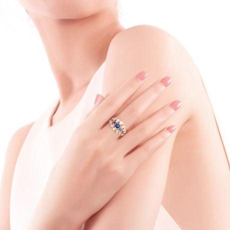 Bague Santa maria novella - Or jaune, saphir bleu & diamant