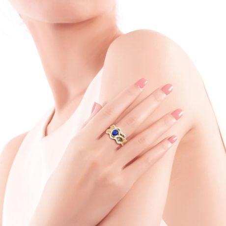 Bague floraison saphir ovale 1.10cts & diamants. Or jaune