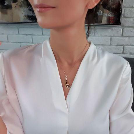 Pendentif corne d'abondance or rose - Coquille de Triton - Diamants