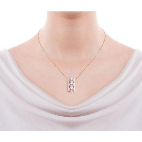 Ciondolo Otohiko Oro Giallo. 3 Perle Akoya, Diamanti
