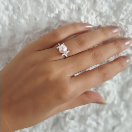 Anello Otohiko - Oro Bianco, Diamanti e Perla Akoya