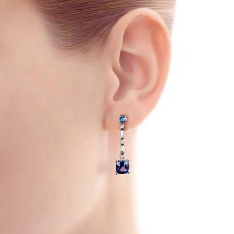 Boucle d oreille Élisabeth Ière - Tanzanite, saphir, diamant & Or blanc