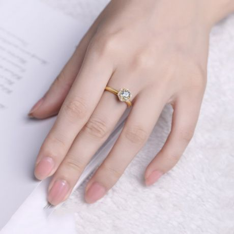 Solitaire Captivante Renoncule - Bague Diamanté & Or Jaune | Gemperles
