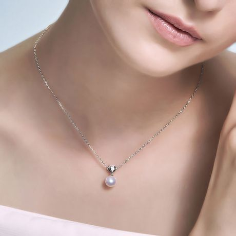 Ciondolo Sarah Bernhardt - Oro Bianco 18kt, Diamanti e Perla Akoya