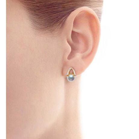 Orecchini Pendenti Masako - Perle Akoya Bianche 8/8.5mm AAA - Farfalla Oro Giallo