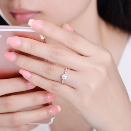 Bague de fiancailles - Diamant solitaire accompagné Or blanc - Koh-I-Noor