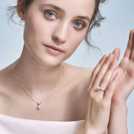 Anello Tsuguka - Oro Bianco, Diamante e Perla Akoya