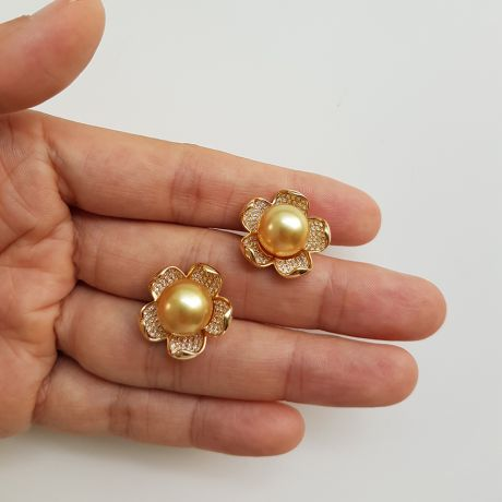 Orecchini Frangipanier - Perle dei Mari del Sud e Oro Giallo