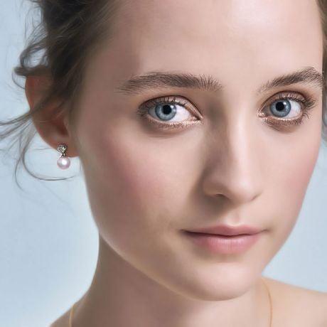 Pendant d'oreille - Perle Akoya or blanc - Sarah Bernhardt