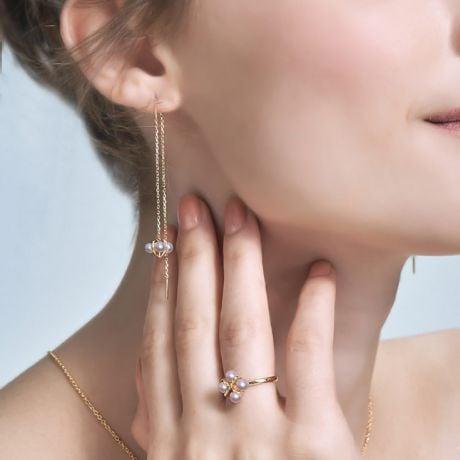 Boucles Oreilles Trèfle 4 Perles
