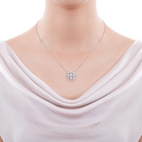 Pendentif Voyage stellaire I Perle Akoya Or blanc Diamant Saphir