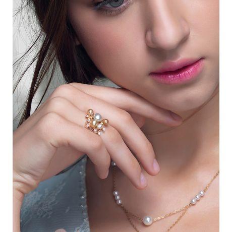 Anello Fiore Segreto 1 - Perle dei Mari del Sud e Oro Giallo