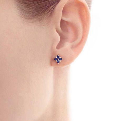 Boucle oreille fleur saphir bleu, diamant, or jaune - Véronique des ruisseaux