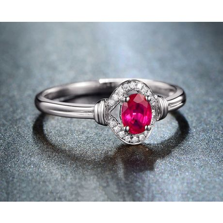 Bague rubis Chérie diamants et Or blanc 18cts