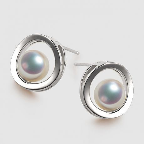Boucle d oreille perle Akoya - Himiko - Perle du Japon, Or blanc