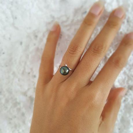 Anello Îles Gambier - Oro Bianco, Diamante e Perla di Tahiti