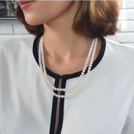 Collier double rang perles du Japon Akoya - Perle eau salée 5.5/6mm