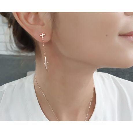 Orecchini Croci Pendenti - Oro Rosa & Diamanti